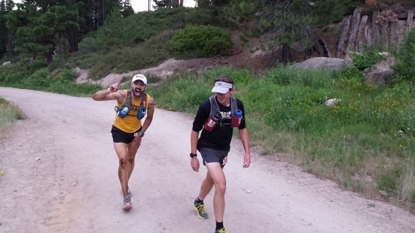Team Inside Trail Racing in full effect starting up Diamond Peak from mile-80. Photo credit to Luke Garten.