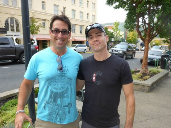 With Eric Litvin, outside Rogue Valley Runners, the day before the race.