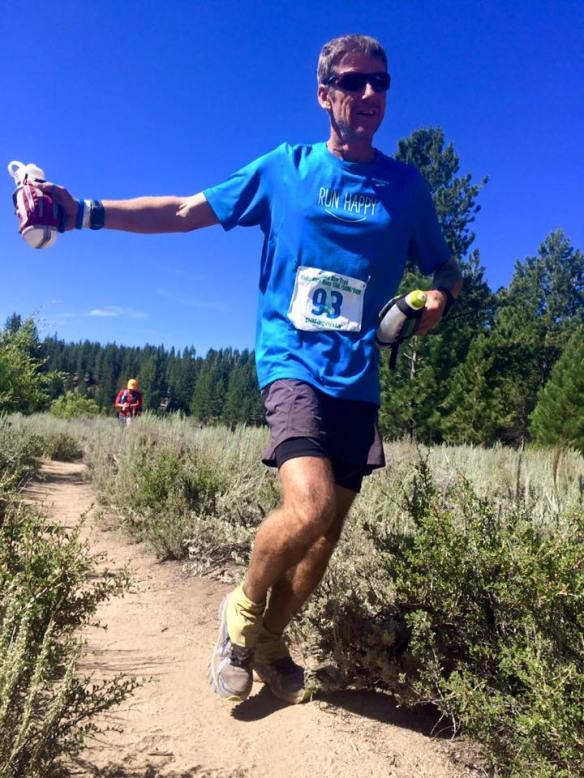 Shane James, snagging his sub-30 buckle at Tahoe Rim Trail 100 in July.