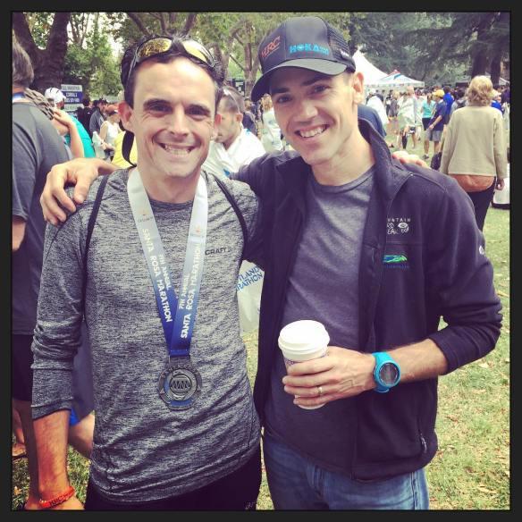 With Healdsburg Running Company's James McCanne, after his Boston Marathon Qualifier at last weekend's Santa Rosa Marathon. Photo Credit: Ruby Barzaga