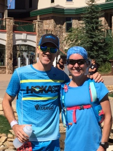 With Pine to Palm 100 course-record holder Becky Kirschenmann at the start. Photo Credit: Kevin Deutsche