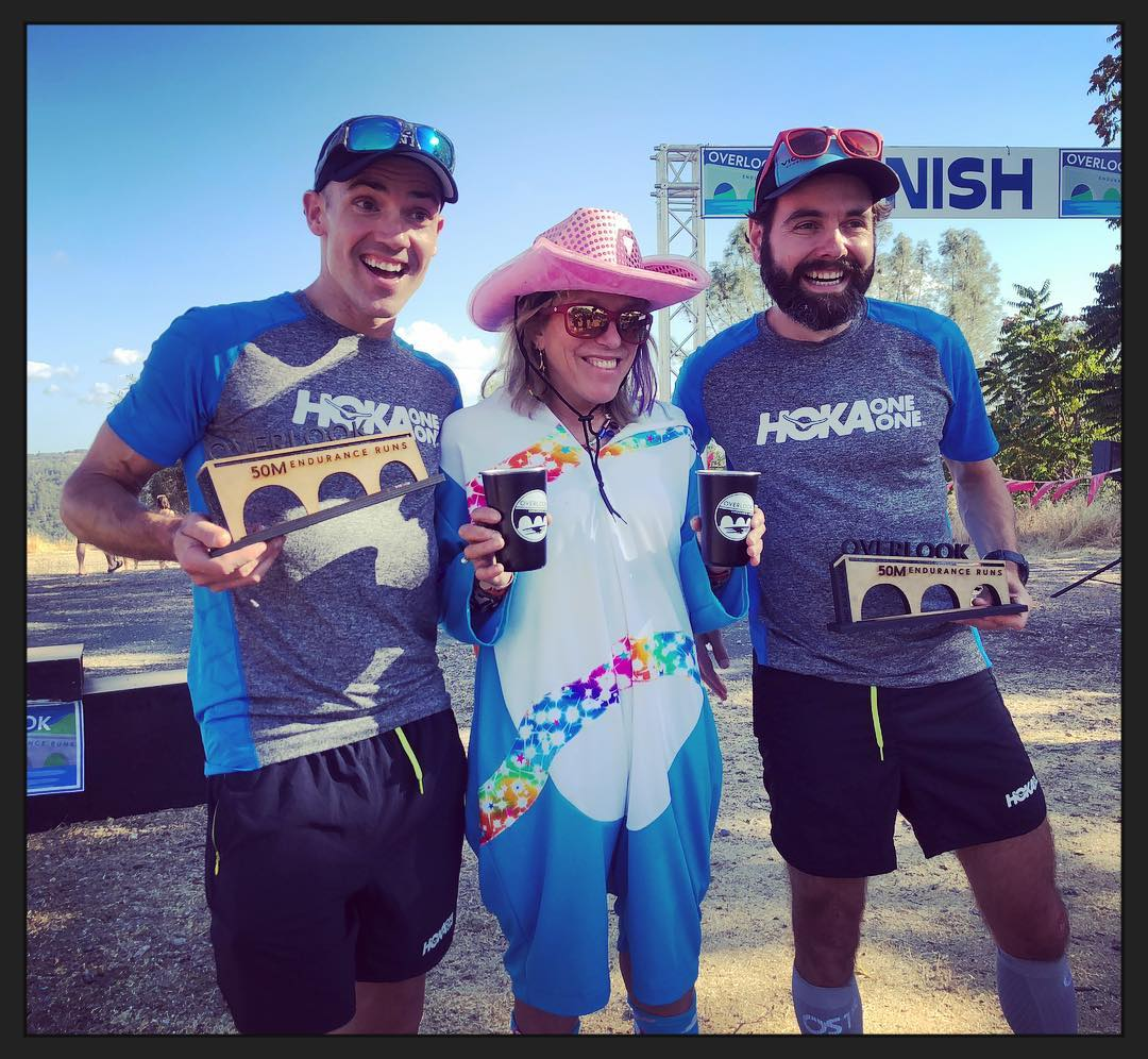 With a double-fisting Ann Trason and Chris Denucci at the finish line of the  inaugural Overlook 50mi back on 9/29. Ann's dog paced for a while, ...